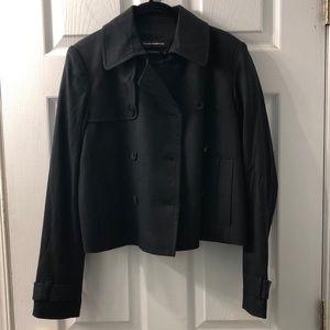 Black Club Monaco cropped trench coat